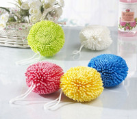 Wholesale 9CM Sponge Bath Balls Mesh Pouf Sponge Bathing Spa Shower Scrubber Ball Bath Brushes