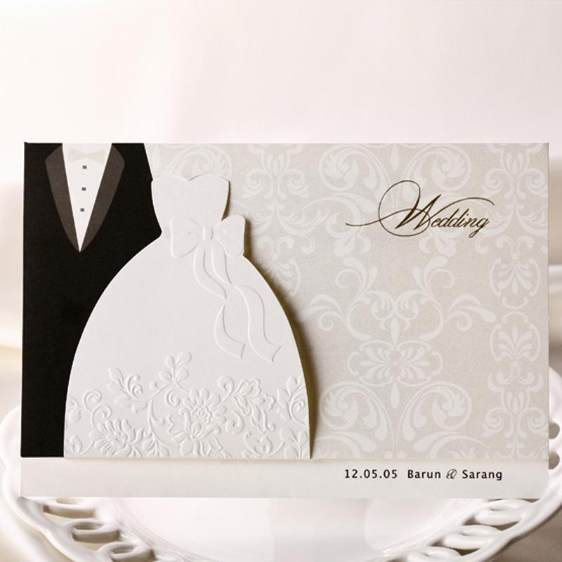 Top Quality White Dress Style Invitation Wedding Invitations Come