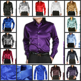 Wholesale Hot Selling Elastic Silk like Satin Men Wedding Prom Groom Shirts Colors Bridegroom Shirt G679