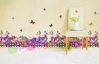 Removable baseboard designs - free ship purple flower vine TV wall stickers removable wall sticker bedroom corner waistline baseboard paste