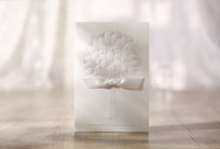 Wholesale White flower bow Invitation Wedding Invitations come envelopes sealed card