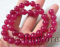 Wholesale 8SE08644a mm Purple Red Jade Round Beads quot