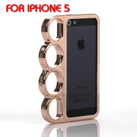 Wholesale Fist Finger Ring Chrome Aluminium Hard Back Cover Cases Brass Knuckle cases for iPhone G