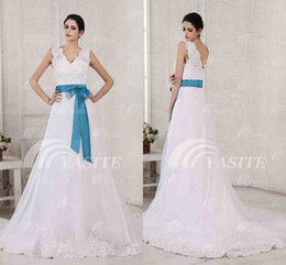 Buy Chapel Train Lace Blue Wedding Dress Online from Low Cost Blue