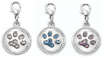 Wholesale 3 Colors Hot Selling Rhinestones Paw In Roundel Dog Cat Pet Pendant Charm Pet Jewelry Pet ID Tag
