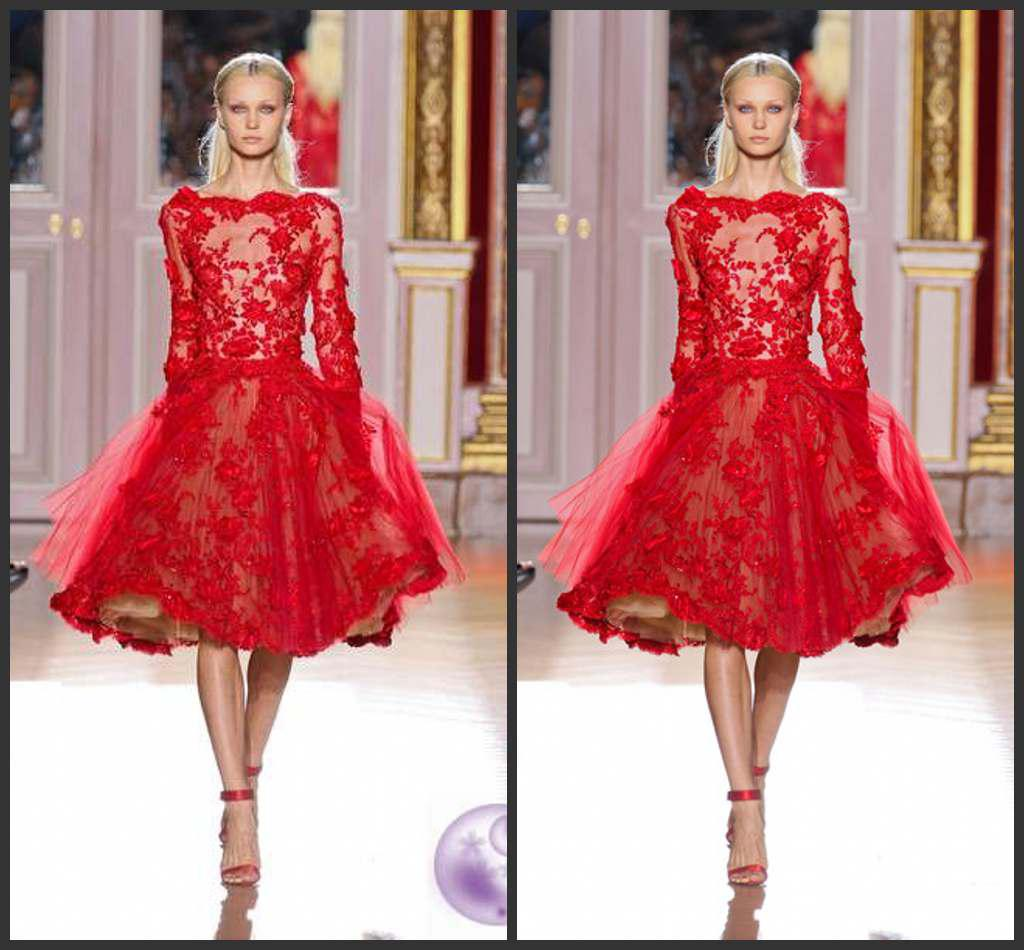 Best Selling Zuhair Murad Short Evening Dresses Long Sleeves ...
