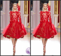 Wholesale Best Selling Zuhair Murad Short Evening Dresses Long Sleeves Bateau Neck Red Lace Cocktail Dresses Custom Made