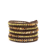 Wholesale Fashionable Jasper Beads with Gold Plated Nuggets Leather Wrap Bracelets