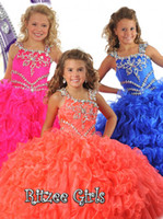 Glamorous special beads pleat sweep train pageant dress flow...