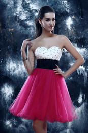 Wholesale Charming A Line Homecoming Dresses Sweeteart Beaded Short Length Girls Party Dress Cocktail Gowns