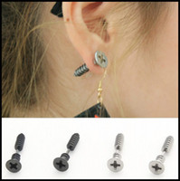 Wholesale 50PCS Screw Stud Earrings Lag Spike Ear Stud Dangler Eardrop Charm Popular Stainless Steel Jewelry