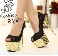 Wholesale 2013 New Black Gold Rivets Studded Spike Peep Toe High Heels Pumps Sexy Platform Heels Shoes