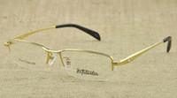 eyeglasses - Titanium eyeglass frames gray gold color mens men business eye glasses half optical frame by china
