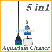 Wholesale 5 in Complete Aquarium Cleaning Set Fish Net Gravel Rake Algae Scraper Plant Fork Window Sponge
