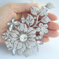 Wholesale 4 quot Bridal Orchid Flower Brooch Pin w Clear Rhinestone Crystals EE04712C1
