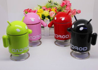 Wholesale 20pcs Google Android Robot Mini Loudspeaker with FM Radio TF Card Slot phone tablet pc use