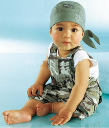 Wholesale Handsome boy clothes children clothes in the summer of camouflage straps dresses kids set