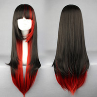Wholesale Cosplay Retail Anime Lolita Synthetic Hair Lady s Black Red Long Wigs Fast Shipping
