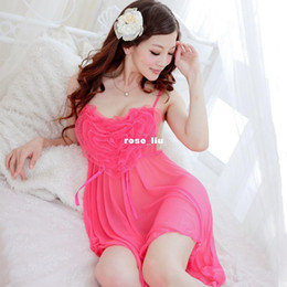 Wholesale Charming gauze spaghetti strap nightgown women sexy sleepwear twinset set lace temptation transparen