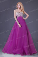 Real Photos Sweetheart yarn Grace Karin 1pcs Free Shipping Hot Sales Beaded Prom Gown A Line Sweetheart Long Cocktail Evening Dresses CL3107