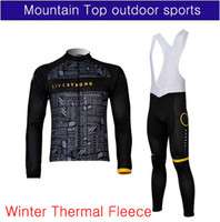Wholesale Black winter Thermal Fleece LIVESTRONG Cycling long sleeve jersey and bib shorts XS
