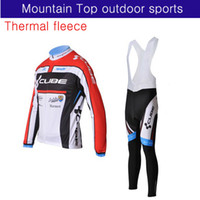Wholesale CUBE Team winter Thermal Fleece Cycling long sleeve jersey bib pants bike wear XS X