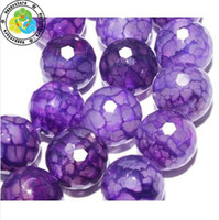 Wholesale mm DIY natural faceted purple dragon Veins Agate Round loose Beads
