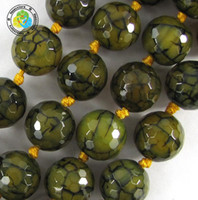 Wholesale mm DIY natural faceted green dragon Veins Agate Round loose Beads
