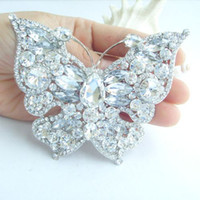 Wholesale 3 quot Gorgeous Butterfly Brooch Pin w Clear Rhinestone Crystals EE04919C1