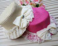 Wholesale Summer ladies Sweet Natural Straw Sunhat Lace Hat Visor Leisure Sun Beach Sunbonnet Hat