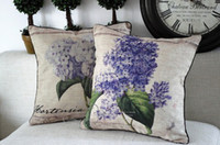 Wholesale 2PCS New fabric lavender hydrangea flowers cotton sofa cushion cushion pillow