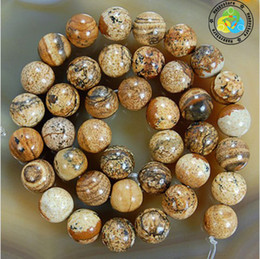 Wholesale mm DIY natural Beautiful Picture Jasper Round loose Beads A quality200pcs