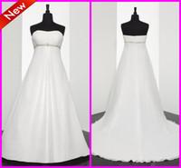 Wholesale Cheap Beach Wedding Dresses Strapless Empire A Line Beach Wedding Dresses Elegant Beading Sequins Informal Bridal Gowns Reception New