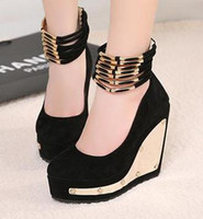 Wholesale 2013 New Classic Fashion Womens Royal Blue Black Ankle Strappy High Platform Wedges Heels Shoes