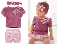 Wholesale 3 piece AMISSA suits baby handband Tshirt shorts suits Girl Bowknot tops Floral pants for toddlers