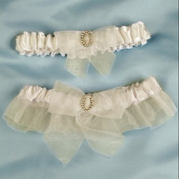 Wholesale Fast shipping Organza ribbon Bride Garters come with bow and diamond pair