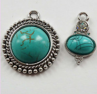 Wholesale mm tibet silver crystal turquoise Sets charms