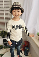 Wholesale New Spring Korean Boys Letter Stripe Round Neck Long Sleeve T shirt Kids Tops Orange white
