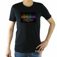Wholesale led shirt - All festival Gift Party Using Sound Activated Flashing Up Down LED Light music EL T Shirt
