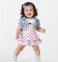 Girl baby cowboy clothes - Summer girls suit Year baby clothes set cowboy coat pink dot dress kids suits children skirt