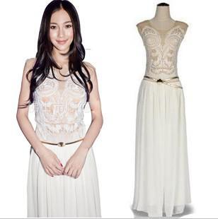 New Style Womens White Chiffon Dress Petite Sleeveless Embroidered ...