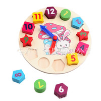 free shipping wooden matches - Colorful cartoon digital geometry clock wooden toy intellect toy puzzle matching game Baby Toy