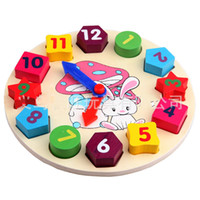 Wholesale Colorful cartoon digital geometry clock wooden toy intellect toy puzzle matching game