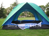 Wholesale Camping Tent for Three Four People Double Deck Waterproof Fiberglass Pole Green