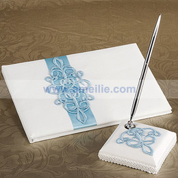 Wholesale Classic European Blue and White Wedding Decoration Guest Book And Pen set