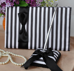 Wholesale Black and white striped wedding decoration satin wedding the guest book with pen
