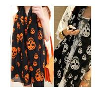 Wholesale Fashion Skull Lady scarf Woman scarves Spring Autumn Skull Print scarf Shawl Elegant Silk Shawl