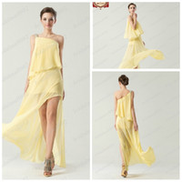 Model Pictures Chiffon Ruffle 2014 beach Bridesmaid Dresses Sweet princess Greek Style Goddess One shoulder Elegant Beading Party Dress