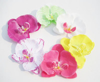 Wholesale 4 quot Bridal flowers with hairclips Butterfly orchid silk flower brooch fabric Head Accessories color
