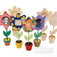 other 2 to 5 years Drawing Toys Set 24pcs lot,draw your own flower pot photo frame,paint unfinished hobby,wood toys,wooden picture frame